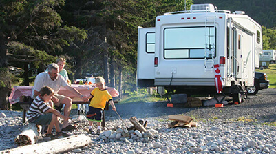 A family enjoying their RV that was delivered to them through RVezy.com.